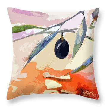 Modern Decor Art Olive Branches 2 Throw Pillow