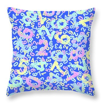 Modern Design With Random Colorful Numbers With Shadow Edges On A Blue Background  Throw Pillow