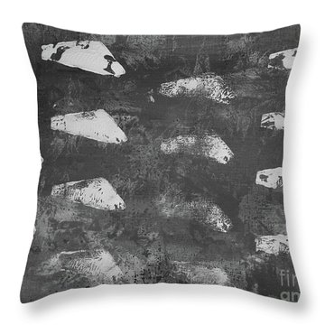 Throw Pillow featuring the painting Modern Fossil Grayscale by Robin Maria Pedrero