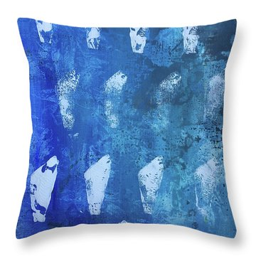Throw Pillow featuring the painting Modern Fossil by Robin Maria Pedrero