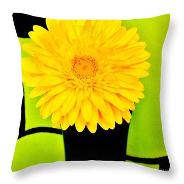 Modern Gerber Throw Pillow by Marsha Heiken