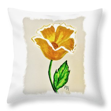 Modern Gold Flower Throw Pillow by Marsha Heiken