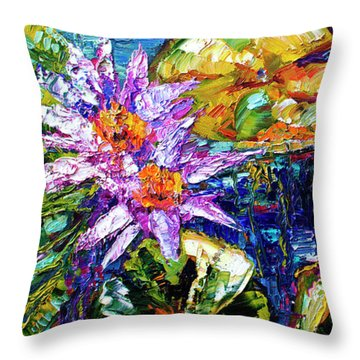 Modern Impressionist Lily Pond Reflections Throw Pillow
