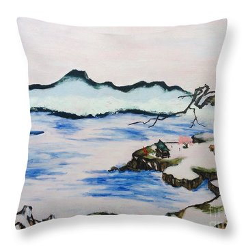 Modern Japanese Art In The Shadow Of The Past - Utsumi And Kano School Throw Pillow by Sawako Utsumi