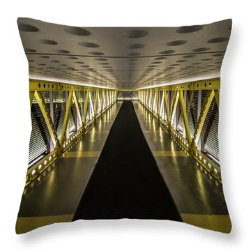 modern looking pedway in Chicago Throw Pillow