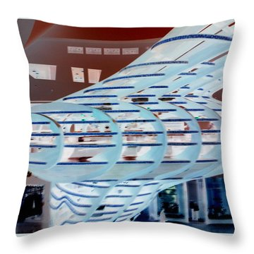 Ghostly Shopping Mall Throw Pillow