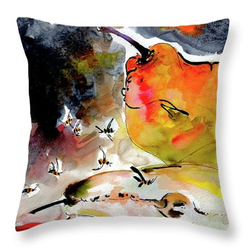 Modern Pears And Bees By Ginette Throw Pillow