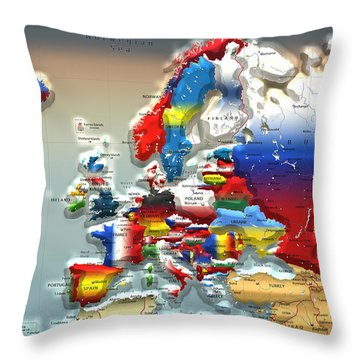 Modern Portrait Of Modern Europe - 3d Throw Pillow