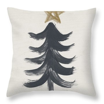 Modern Primitive Black And Gold Tree 1- Art By Linda Woods Throw Pillow