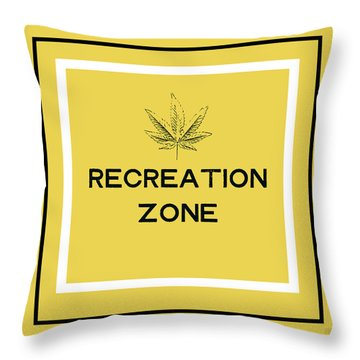 Throw Pillow featuring the mixed media Modern Recreation Zone Sign- Art By Linda Woods by Linda Woods