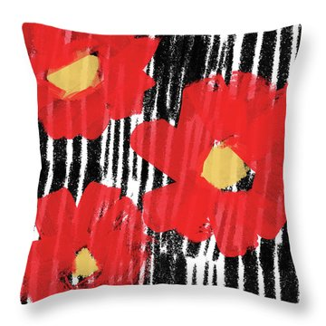 Throw Pillow featuring the mixed media Modern Red Flowers- Art By Linda Woods by Linda Woods