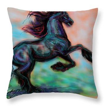 Modern Royal Friesian Throw Pillow