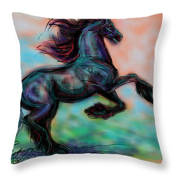 Modern Royal Friesian Throw Pillow