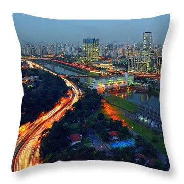 Modern Sao Paulo Skyline - Cidade Jardim And Marginal Pinheiros Throw Pillow