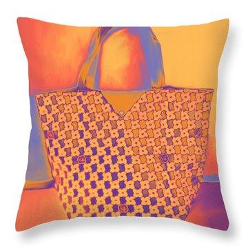 Modern Shopping Bag Throw Pillow