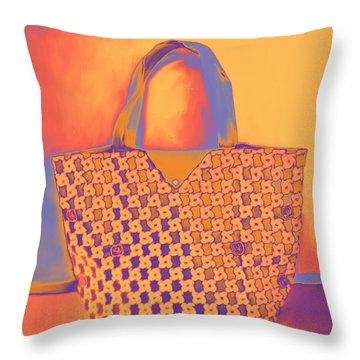 Modern Shopping Bag Throw Pillow