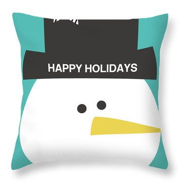 Modern Snowman Happy Holidays- Art By Linda Woods Throw Pillow