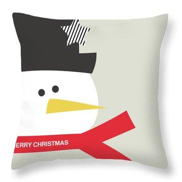 Modern Snowman Merry Christmas Red- Art By Linda Woods Throw Pillow