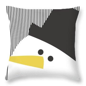 Modern Snowman On Stripes- Art By Linda Woods Throw Pillow