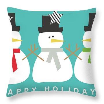 Modern Snowmen Happy Holidays- Art By Linda Woods Throw Pillow