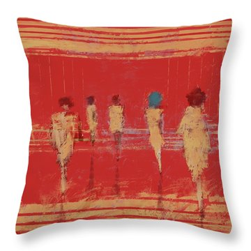 Throw Pillow featuring the mixed media Modern Society by Eduardo Tavares