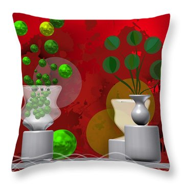 Modern Still Life In Bright Red Throw Pillow