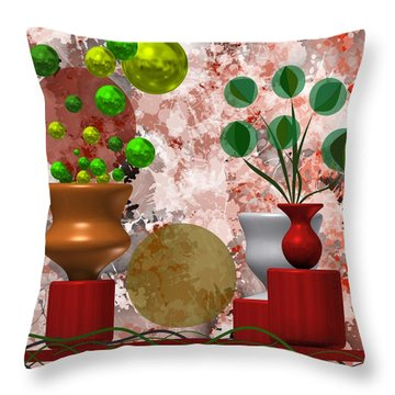 Modern Still Life With Abstract Flowers Throw Pillow
