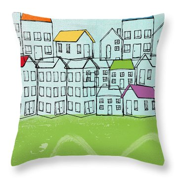 Modern Village Throw Pillow