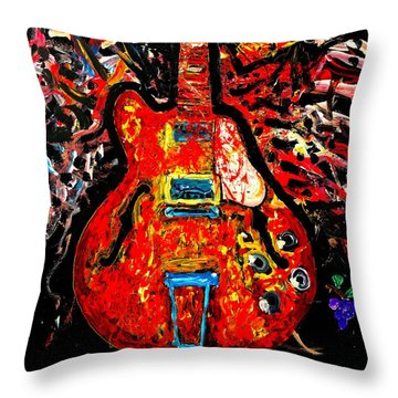Modern Vintage Guitar Throw Pillow