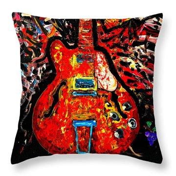 Modern Vintage Guitar Throw Pillow