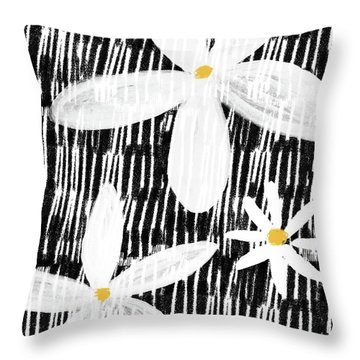 Throw Pillow featuring the mixed media Modern White Flowers- Art By Linda Woods by Linda Woods