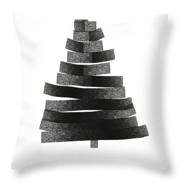 Modern Winter Tree- Season's Greetings Art By Linda Woods Throw Pillow