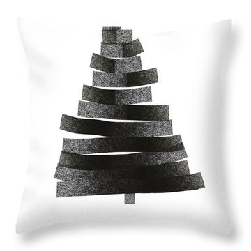 Modern Winter Tree- Season's Greetings Art By Linda Woods Throw Pillow
