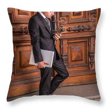 Throw Pillow featuring the photograph Modern Young School Boy 1504257 by Alexander Image