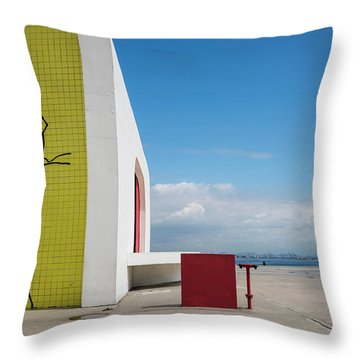 Modernist Architecture Red, Blue And Yellow Throw Pillow by Lana Enderle