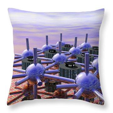 Modular City Throw Pillow by Nicholas Burningham