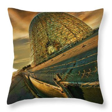 Moffett Field Hangar One At Dusk Throw Pillow