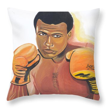 Throw Pillow featuring the painting Mohammed Ali by Emmanuel Baliyanga