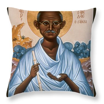 Mohandas Gandhi - Rlmog Throw Pillow