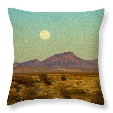 Mohave Desert Moon Throw Pillow
