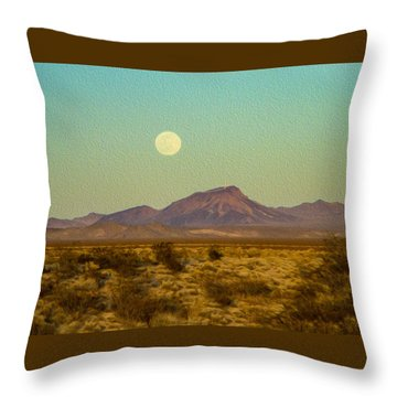 Mohave Desert Moon Throw Pillow