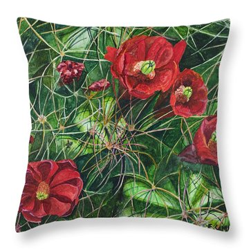 Mohave Mound Cactus Throw Pillow