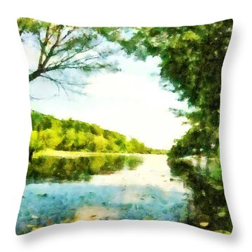 Throw Pillow featuring the photograph Mohegan Lake By The Bridge by Derek Gedney