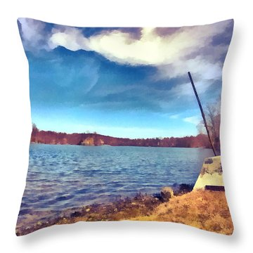 Throw Pillow featuring the painting Mohegan Lake Lonely Boat by Derek Gedney