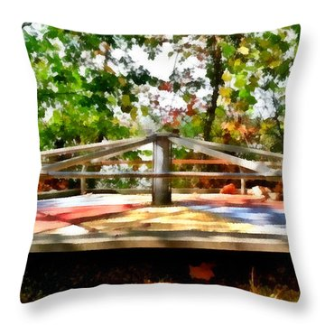Throw Pillow featuring the painting Mohegan Lake Merry-go-round by Derek Gedney