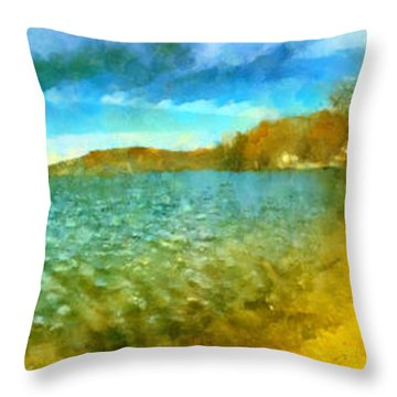 Throw Pillow featuring the painting Mohegan Lake Panoramic Beach by Derek Gedney