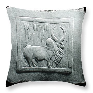 Mohenjodaro Seal Relief Drawing Throw Pillow by Suhas Tavkar