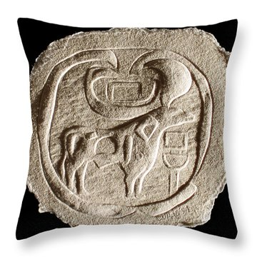 Throw Pillow featuring the relief Mohenjodaro Seal by Suhas Tavkar
