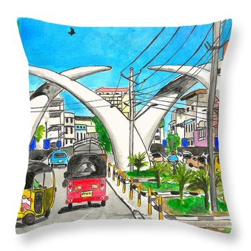 Moi Ave, Mombasa Tusks  Throw Pillow