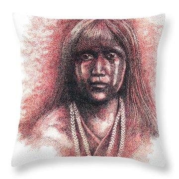 Mojave Girl Throw Pillow by Lawrence Tripoli